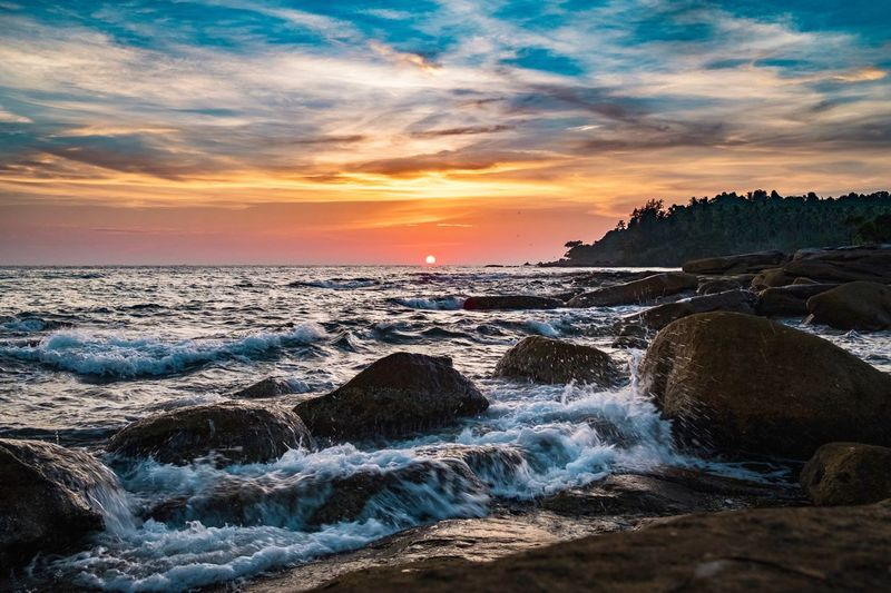 Before sunset. Sunset Sea Beauty In Nature Nature Sky Horizon Over Water Water Scenics Rock - Object Tranquil Scene Cloud - Sky Tranquility Beach No People Outdoors Sea And Sky Seascape Motion Day The Great Outdoors - 2017 EyeEm Awards