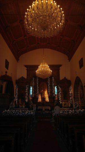 Illuminated christmas lights in temple