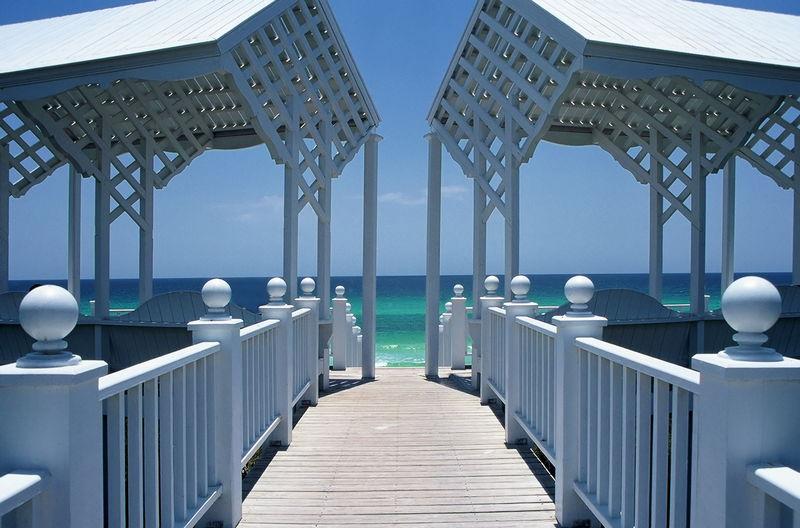 Boardwalk and pavilion at navarre beach, florida