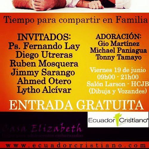 Expofamilia2015 19J ElyteCoachingGroup Debendicion Siyocambiotodocambia Charlas los espero totalmente gratuito... Ven y se parte de algo grande, comparte en familia de charlas, conferencias, música y más... No faltes... Informes www.ecuadorcristiano.com Una charla junto a LYTHO Alcívar autor del libro @[null:@[null:@[null:ElPartidodetuVida ] en el EXPOFAMILIA 2015, EN EL SALÓN LARSON DE HCJB, TOTALMENTE GRATIS... A LAS 14H00,un tema donde se hará reflexión de manera entretenida y analogías a través del rey de los deportes como ser ese entrenador escogido en la familia y potenciar a los futuros DT's... Conferencista juvenil... Que con su estilo particular del christian stand up... Compartirá con los asistentes de alguna temas interesantes. Informes 0992788694