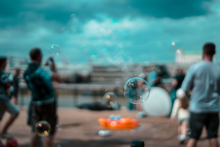 Bubbles in mid-air