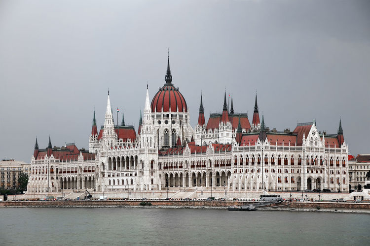 Hungarian parliament building by river in city