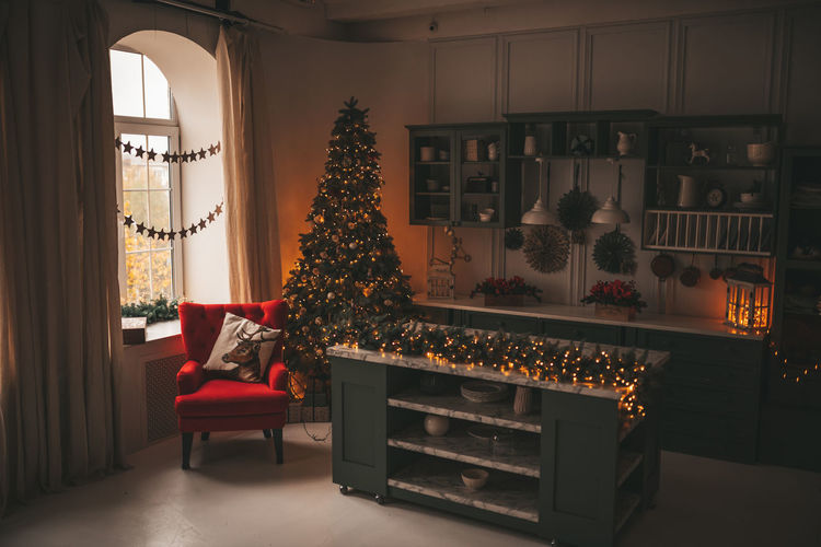 View of christmas tree at home