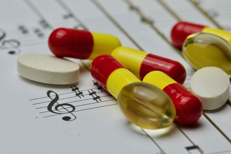"""""""Mozart effect"""" A remedy for body and soul Capsule Close-up G Clef Healthcare And Medicine Macro Medical Medicine Medicine Melody Multi Colored Music Music As A Remedy Music Notes Nutritional Supplement Pill Rhythm TAB Treble Clef Variation"""