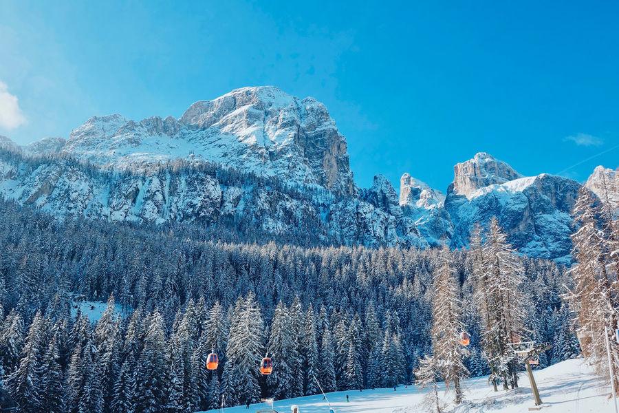 Italian Dolomites in Winter , Alta Badia, Colfosco Alta Badia Blue Sky Cold Cold Temperature Colfosco Day Eaurope Freezing Italy Leisure Mountain Mountains Nature Nature Outdoors Powder Scenics Ski Lift Skiing Snow Snowboarding Tranquility Travel Winter