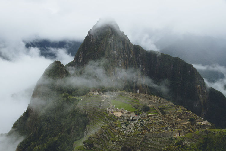Andes Atmosphere Beauty In Nature Citadel Cloud - Sky Day Editing Fog Foggy High Landscape Landscapes Machu Picchu Nature Nature No People Outdoors Panorama Peak Peru Sky Waterfall An Eye For Travel