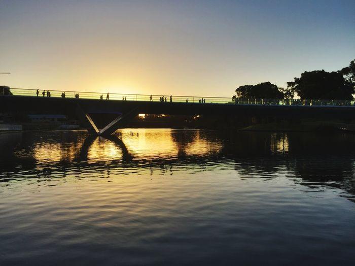 Adelaide, South Australia River Torrens Bridge Footbridge Sunset Dusk Silhouette Riverside Photography Water