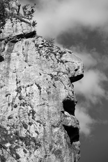EyEmNewHere Beauty In Nature Blackandwhite Photography Cliff Cloud - Sky Day Human Face Rock Low Angle View Monochrome Photography Nature No People Outdoors Surprising Nature Transylvania💕