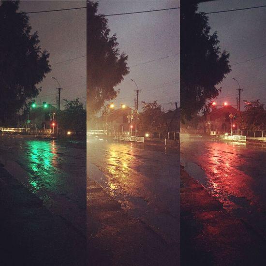 Light Lights Colors Walk This Way Night Red Black Dark Rain Nosnow Ночь свет светофор Дождь Дорога