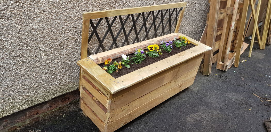 handmade planter All Woman Made By Me Love What I Do Hobby Happy Customer Upcycled Recycled Reclaimed Was A Pallet Flowers Trellis Creative No Man Needed Grafter Hard Work Flower Close-up Architecture Built Structure Wooden Plank Knotted Wood Wood Woodpile Wood - Material Nail Wood Paneling