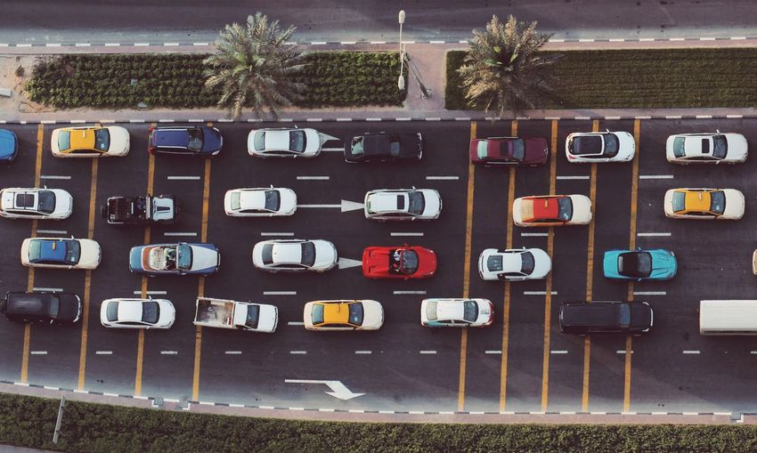 Directly above shot of cars on road in city