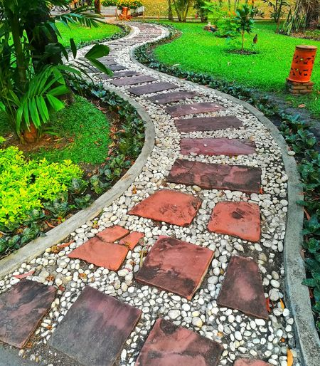 Stone Walkway Brown Brick Brown Light And Shadow Blackground Out Door  Landscape Green Day Outdoors Text High Angle View Communication No People Full Frame Grass Nature