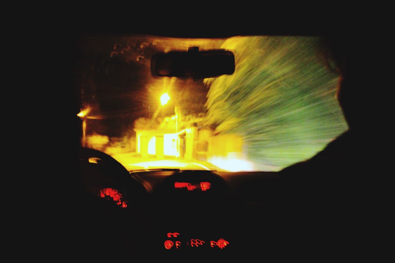 vehicle interior, car, car interior, transportation, land vehicle, windshield, mode of transport, dashboard, windscreen, car point of view, speedometer, steering wheel, driving, illuminated, journey, speed, night, sunset, no people, passenger seat, close-up, sky