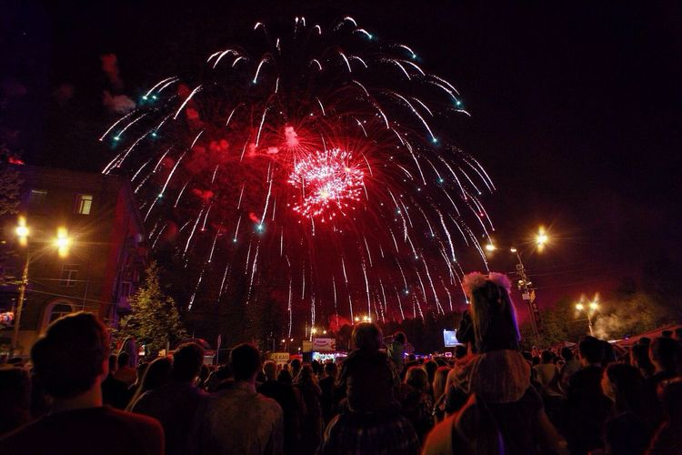 Night Motion Illuminated Celebration Firework Display Large Group Of People Exploding Entertainment Blurred Motion Leisure Activity Red Multi Colored Russia View Welcometorussia Tourism Sky Travel Victory Day Forheroes