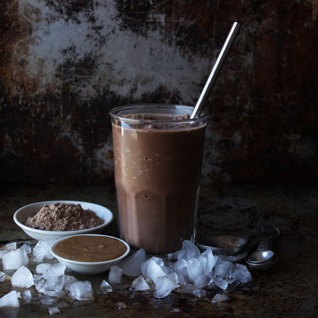 Protein shake Smoothie Chocolate Glass Ice Cubes Peanut Butter Almond Butter Protein Powder Dark Still Life Copy Space Beverage Breakfast Meal Food And Drink Refreshment Drinking Glass Straw Close-up Healthy Eating Drinking Straw Stainless Steel Straw Protein Healthy Lifestyle