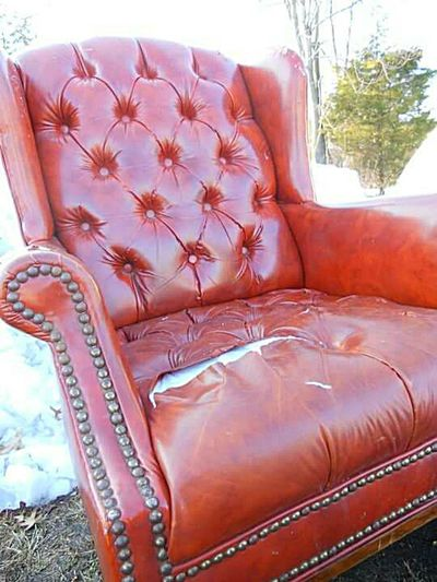 This Time In Color Old Chair Red Relaxing Taking Photos Check This Out Hanging Out Enjoying Life No People Snow Outdoors Winter Parking Lot Trash