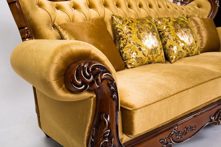 Gold Colored Indoors  Wealth Furniture Luxury Sofa Chair Seat Comfortable No People Elégance Armchair Art And Craft Gold Home Interior Still Life Domestic Room Decoration Design Pillow Leather Ornate Cozy Antique