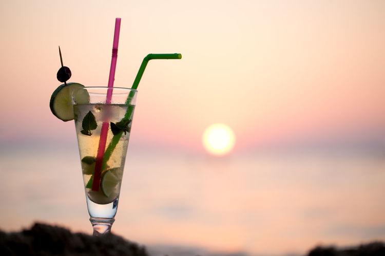 Beach Citrus  Cold Drink Glass Horizontal Mojito Refreshment Resort Sand Sea SLICE Tropical Water