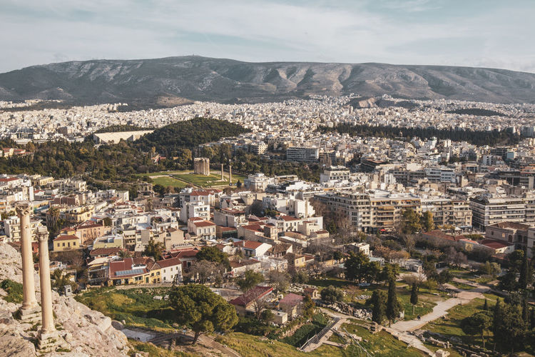 Acropolis Athens Greece Acropolis Architecture Building Exterior Built Structure Cityscape Mountain Residential District Building City Crowd Crowded High Angle View Nature Day Sky Town Environment Outdoors Community Tree TOWNSCAPE