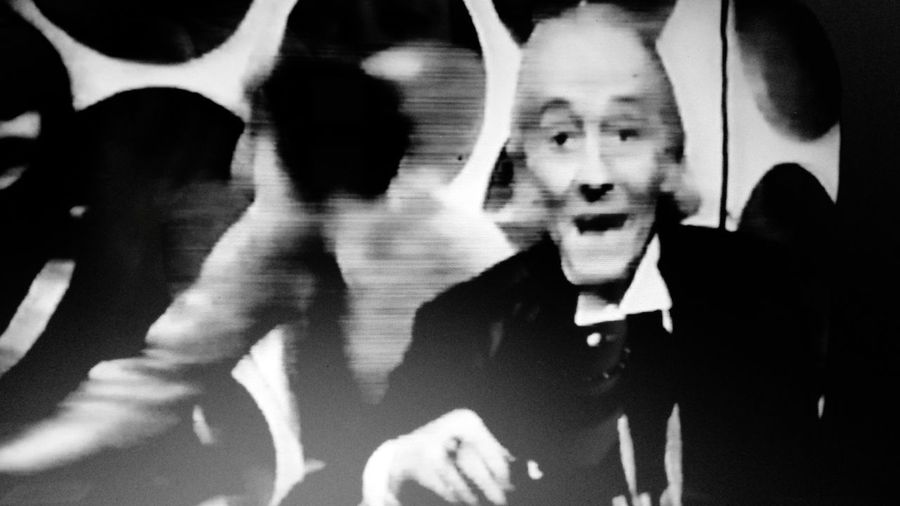 "Doctor Who 1965 Merry Christmas Special  The Feast Of Steven The first doctor, William Hartnell, wishes merry christmas to ""everyone at home"""