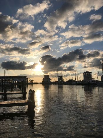 Sunset Water Sky Cloud - Sky Reflection Sunlight Waterfront Tranquility No People Nature Sea Silhouette Tranquil Scene Beauty In Nature Built Structure Outdoors Sun Scenics Architecture Harbor EyeEm Nature Lover From My Point Of View Capture The Moment Landscapes