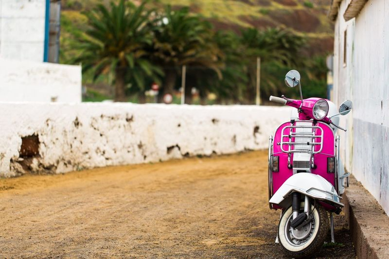 Transportation Land Vehicle Mode Of Transport Day No People Outdoors Focus On Foreground Pink Color Piaggio Tenerife Chiringuito Travel Destinations Scooter Transportation