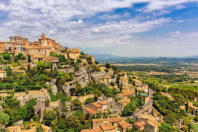 Gordes, Provence Aerial View Architecture Blue Sky Blue Sky And Clouds Blue Sky White Clouds Cityscape Composition Composition In Orange And Yellow Conical Day Destination France Outdoors Overview Provence South Of France Summer Taking Photos Travel Village Warm Tone