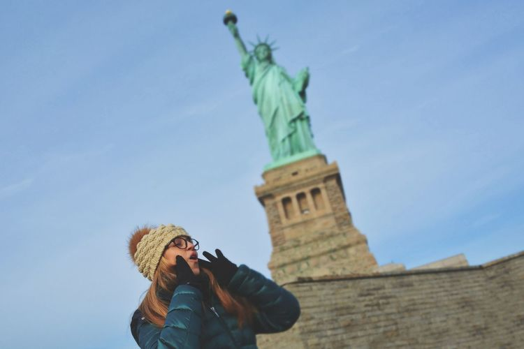 Winter Nikon OpenEdit USA New York New York City Hello World Travel Destinations Travel Photography Famous Place USA Liberty Island Statue Of Liberty United States America Statue Women Sky Travel National Icon