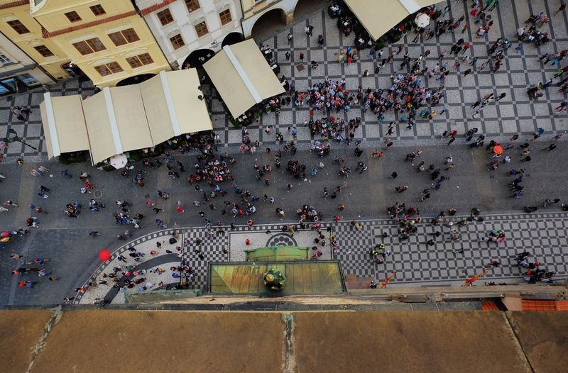 High angle view of people on city street