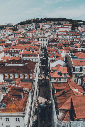 High angle view of townscape lisbon