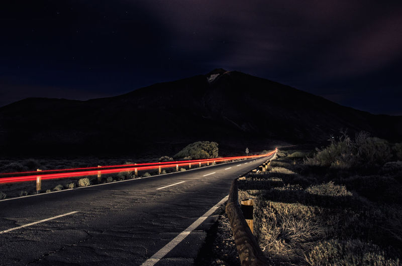 Magic Mountain Canary Islands Cities At Night Country Road Dark Illuminated Landscape Mountain Nature Night No People Outdoors Road Teide Teide National Park Tenerife Vanishing Point Teneriffa Stars Long Exposure Nikon D7000