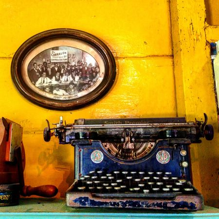 Antique Close-up Machinery No People Old Old-fashioned Retro Styled South America Stationary Travel Type Typewriter Yellow Yellow Wall
