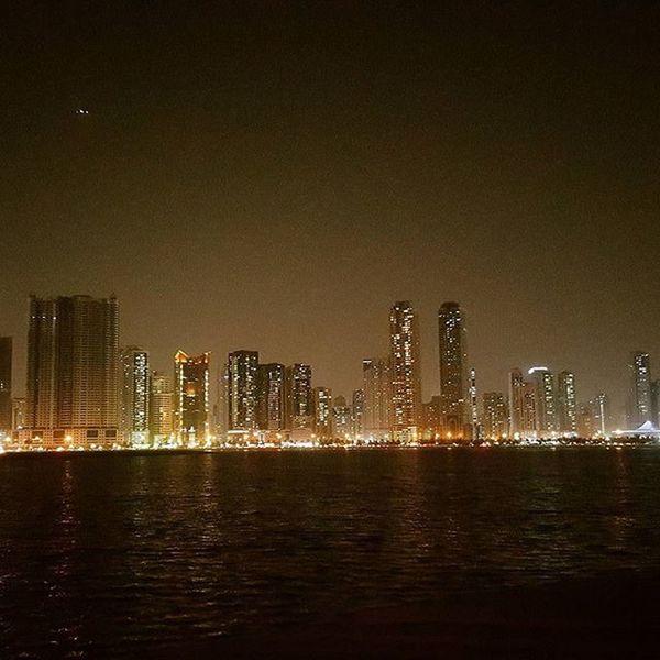 Sharjah skyline Skyline Towers Bayside Beach Nightlight Pictureinthedark Farview Scenicview Newshot Pictureoftheday Wideangle