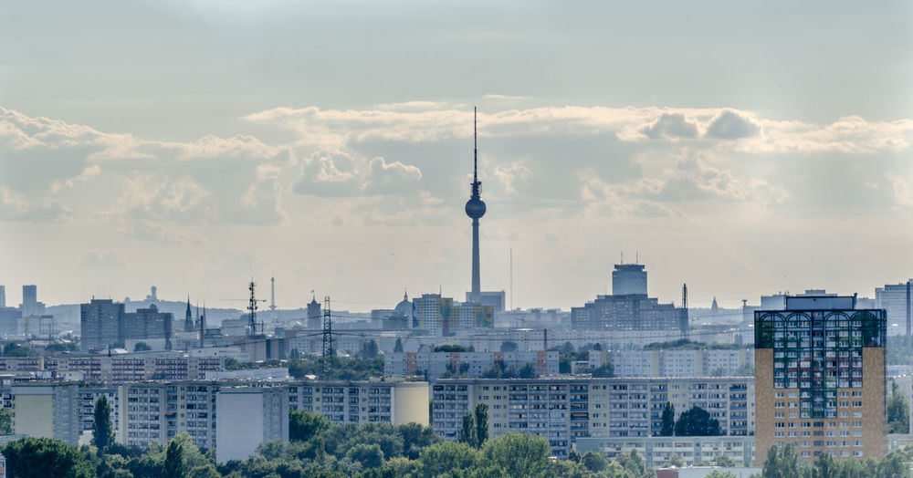 Berlin Berlin Mitte Marzahn Panorama Plattenbau TV Tower Architecture Building Exterior Built Structure City Cityscape Cloud - Sky Communication Day Discover Berlin Modern No People Outdoors Sky Skyscraper Tall - High Television Tower Tourism Tower Travel Travel Destinations