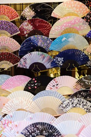 OSAKA Travel Japan Pattern Folding Fan Culture Sell Streetshop Tokyo Streetphotography Street Photography Hand Fan Market Multi Colored Backgrounds Large Group Of Objects