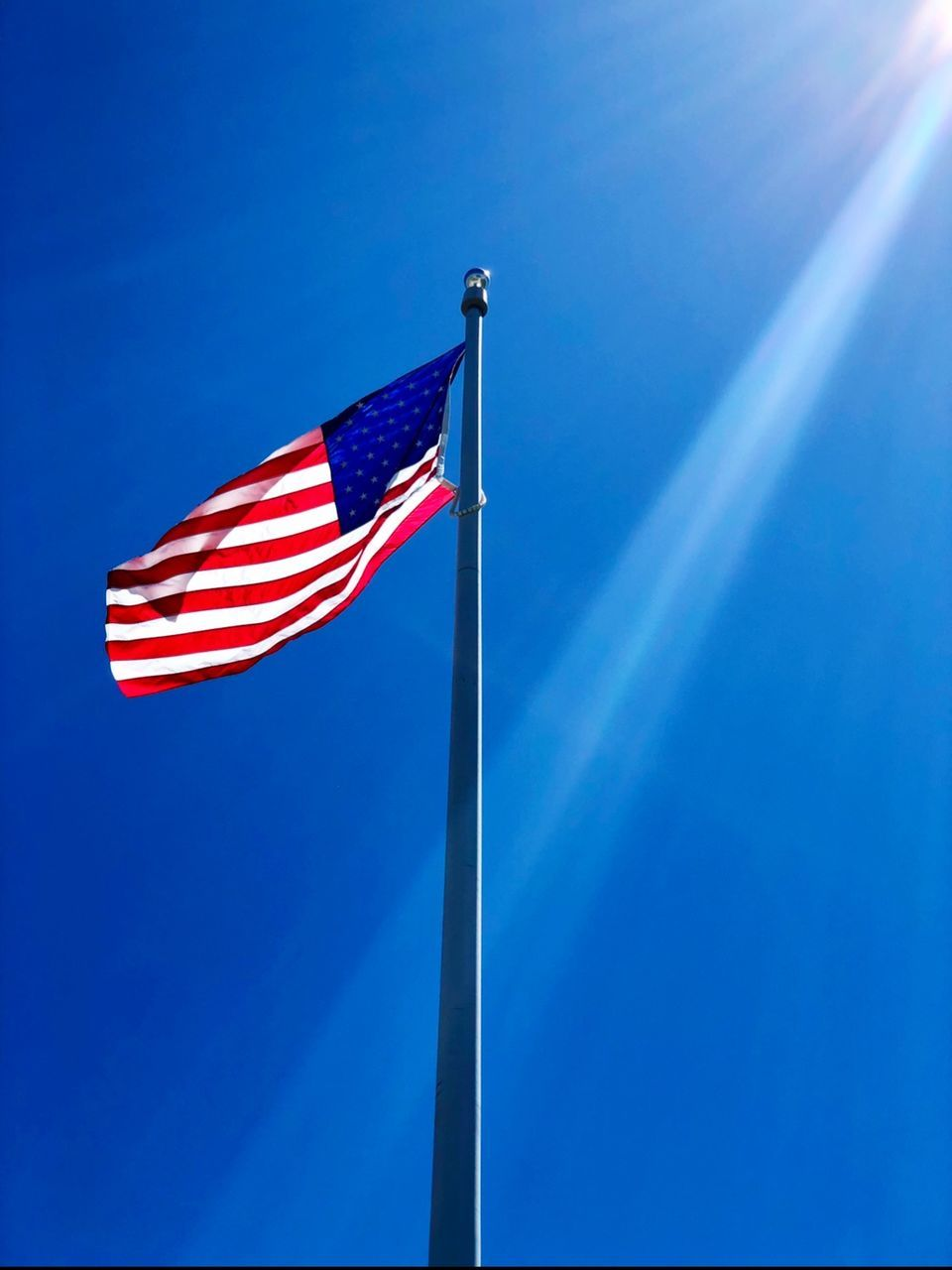 blue, patriotism, flag, low angle view, sky, pole, nature, no people, striped, red, clear sky, wind, environment, sunlight, waving, day, copy space, freedom, outdoors, independence, national icon
