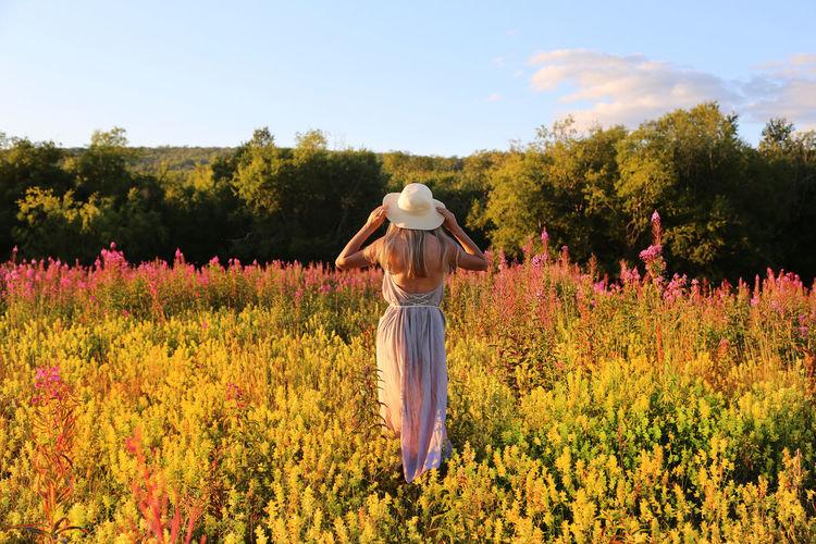 Rear view of woman wearing hat standing by flowering plants on field