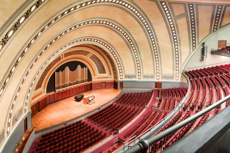 Interior of the Hill Auditorium at the University of Michigan Acoustics Architecture Auditorium Balcony Built Structure Chair Indoors  No People Performance Seat Seating Stage Stage - Performance Space