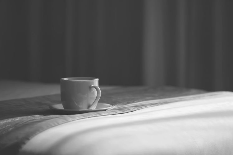 Morning Morning Light Room Bed Bedroom Bedsheet Bw_collection Ceramic Ceramic Mug Close-up Coffee Coffee - Drink Coffee Cup Cup Drink Food And Drink Hotel Room Indoors  Light And Shadow Monochrome Monotone Mug