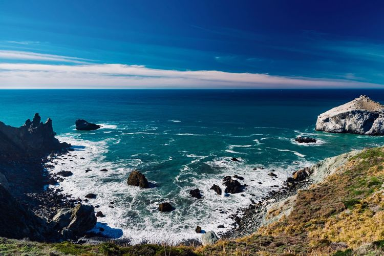 Sea Water Sky Rock Scenics - Nature Beauty In Nature Solid Horizon Over Water Rock - Object Horizon Cloud - Sky Tranquil Scene Nature Land Blue Tranquility Beach No People Idyllic Outdoors Rocky Coastline Stack Rock