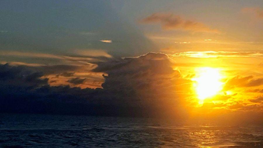 Water Sea Sunset Dawn Gold Colored Silhouette Sun Yellow Morning Sunlight