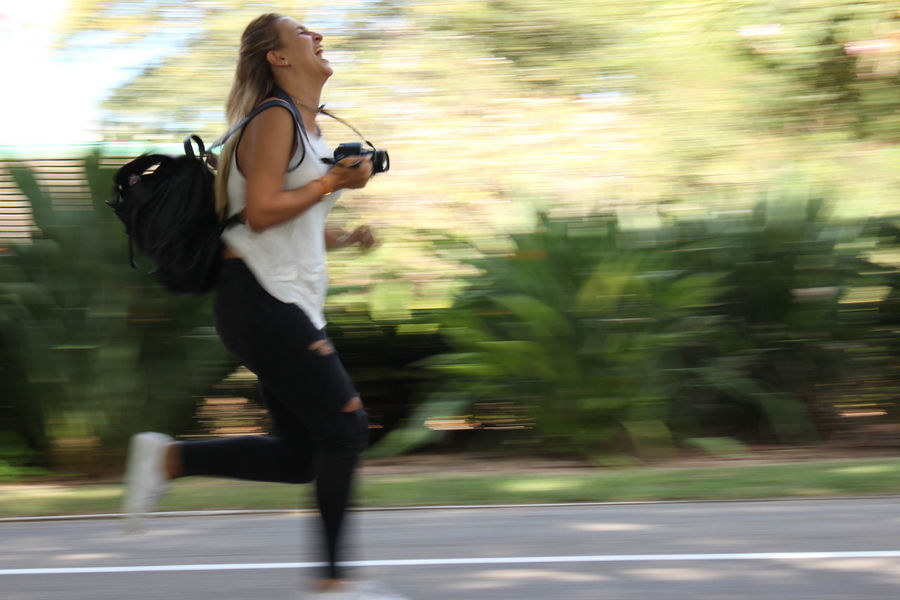 Running photographer Activity Blurred Motion Motion Only Women Running Woman Tel Aviv Streets Sports Photography EyeEmNewHere Joy Happiness Exhilaration Fast Track Fast Woman The Street Photographer - 2017 EyeEm Awards Camera Camera Roll