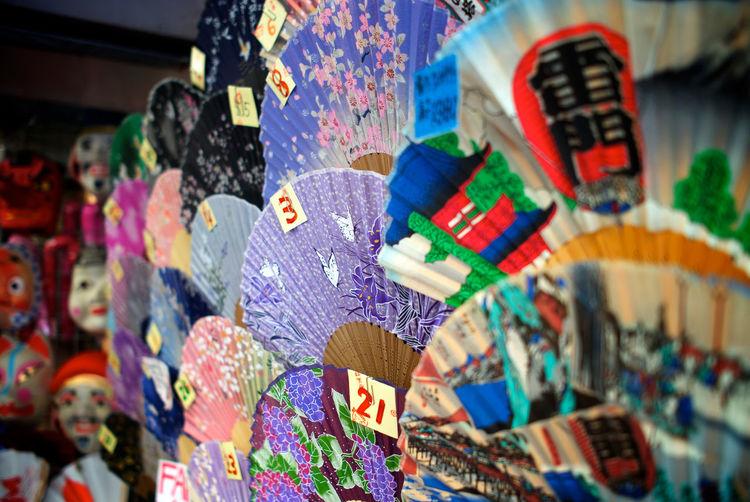 Folding fans souvenir is Tokyo, Japan. ASIA Colorfull Art Japan Tokyo Tourist Art And Craft Choice Close-up Creativity Focus On Foreground Folding Fan For Sale Multi Colored Representation Retail  Selective Focus Souvenir Variation
