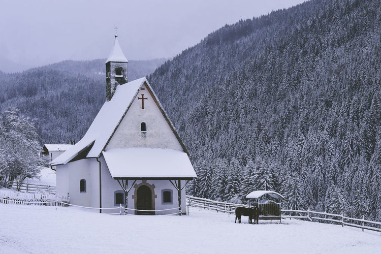 2017 349/365 Alto Adige Chapel Church December 15 Nova Levante Südtirol Trentino Alto Adige Welschnofen Architecture Beauty In Nature Bolzano Building Exterior Built Structure Cold Temperature Day Frozen Horse Italy Landscape Mountain Nature No People One Year Project Outdoors Place Of Worship Religion Scenics Sky Snow Snowing South Tyrol Tree Weather Winter