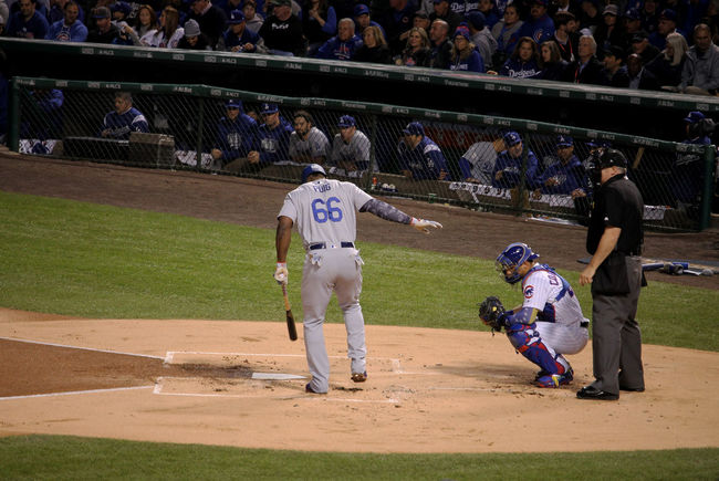 #NLCS #at Bat #baseball Is Life #chicagocubs #losangelesdodgers #puig Baseball - Sport Baseball Bat Baseball Player Baseball Team Baseball Uniform Batting Competition Day Large Group Of People Men Outdoors Playing Real People Sport Sports Helmet Sports Team Sports Uniform Sportsman