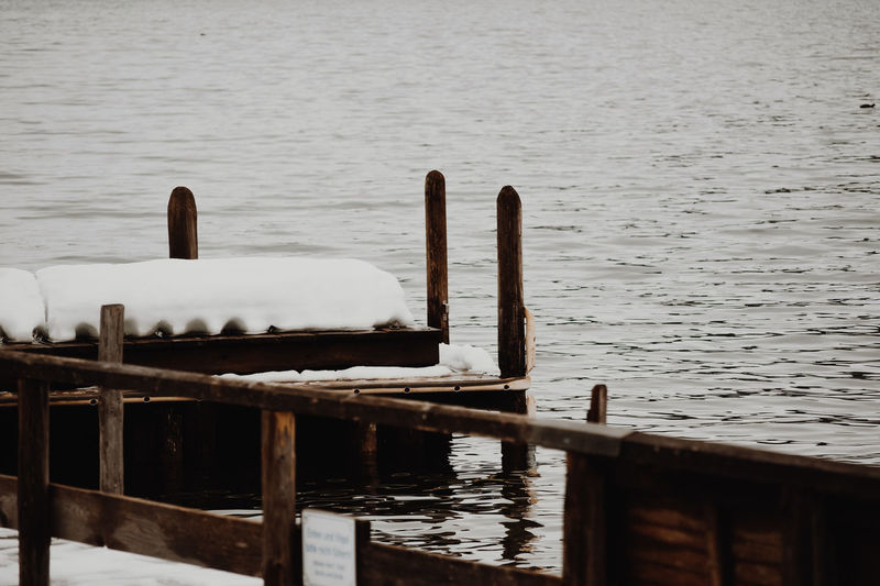 Lake Water No People Day Nature Bird Animals In The Wild Vertebrate Animal Wildlife Animal Animal Themes Tranquility Beauty In Nature Wooden Post Group Of Animals Outdoors Footbridge Landing Stage Lake Lake View Winter Snow Snow Covered Ice Cold Winter Lake