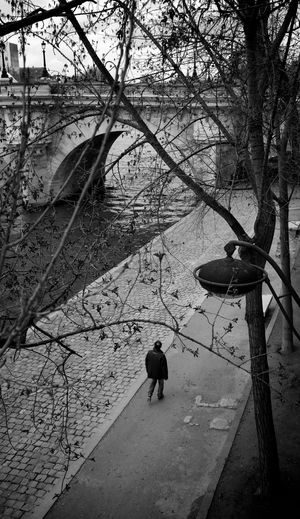 A man walking alone along the Seine river in Paris. City France Man Paris Seine River Travel Walk A Lone Behind Black And White Bridge Candid Europe La Seine River Bank  Street Urban Vertical The Street Photographer - 2018 EyeEm Awards