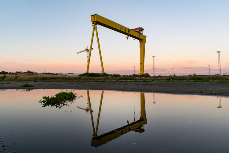 The Week On EyeEm Reflection Industry Sunset Industrial Equipment Outdoors No People Nature Sky Day Water Harland&Wolff Belfast Water Reflections