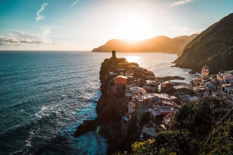Vernazza, italy. scenic view of sea against sky during sunset