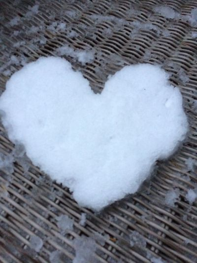 EyeEmNewHere Winter Close-up Day Heard Of Snow Heart Shape High Angle View Indoors  Love No People Snow White Color